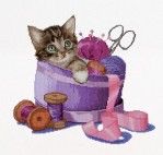 Sewing Basket Kitten
